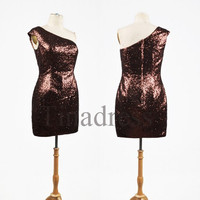 Custom Chocolate Big Size Sequins Lace One Shoulder Short Prom Dresses Evening Dresses Party Dresses Homecoming Dress Cocktail Dresses