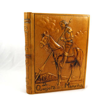 Vintage Embossed Leather Cigar Faux Book Box of Don Quixote