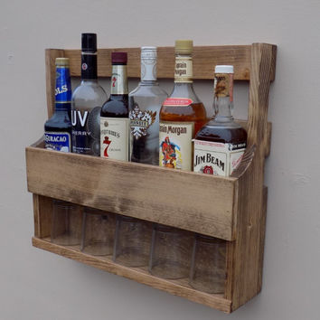 6 Bottle Wall Mount Liquor Rack With Shelf Which Holds Up To 5 Glasses Walnut Finish