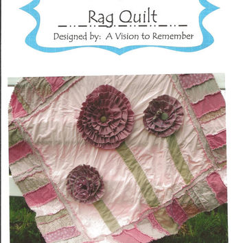 RAG QUILT PATTERN, Ruffled Flower, Modern, Sewing, Mailed Hard Copy