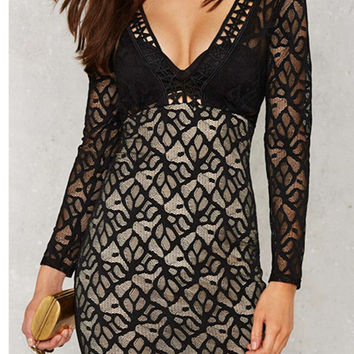 Cupshe Fall From Sky Lace Plunging Dress