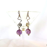 Lilac amethyst earrings, tribal style gemstone and silver earrings. gift under 40