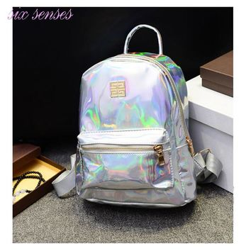 Day-First™ New Arrival Hologram Laser Backpack Girl School Bag Women Rainbow Colorful Metallic Silver Laser Holographic Backpack