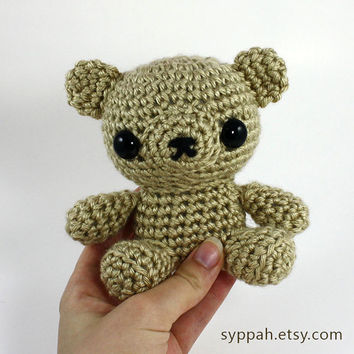 Crochet Teddy Bear Amigurumi Plush - Cute Brown Teddy Bear Plushie - Made to Order
