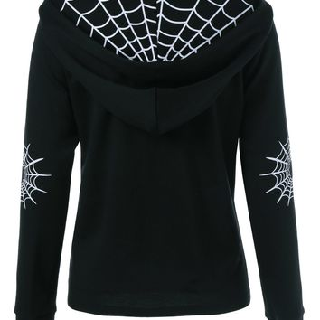 Kenancy Autumn Winter Spider Web Print Women Hoodies Coat Black Slim Gothic Style Zipper Pockets Outwear Long Sleeves Jackets