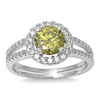 Sterling Silver Simulated Peridot Halo Ring - Size 5