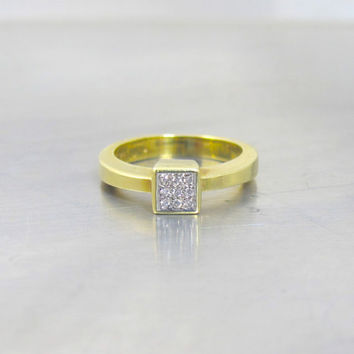 14K Diamond Engagement Ring, Pave Set Checkerboard Setting, Yellow Gold Promise Engagement Stacking Ring Signed 585 FB, Size 7