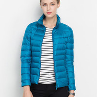 Peacock Blue Stand-up Collar Short Down Padded Jacket