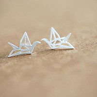 925 Sterling Silver Jewelry Origami Crane Stud Earrings for  Cute animal Earrings Gift SYED009