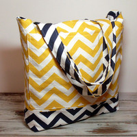 Large Summer Bag - Beach Bag - Yellow Navy Chevron - Large Tote Bag - Made To Order - Vacation Bag - Beach Wedding