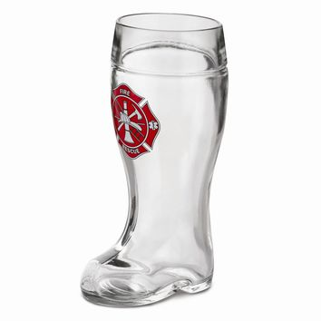 Glass Firefighter 1-liter Boot Drinking Vessel - Etching Personalized Gift Item