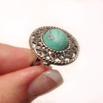 Round Faux Turquoise Adjustable Ring Vintage Silver Tone