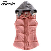 FIONTO Women Winter Vest Cotton Casual Temperament Slim Vest Coat Hooded Winter Warm Jacket And  Outerwear F045