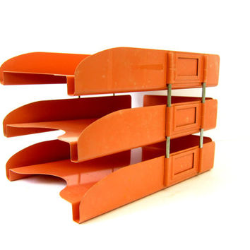 Orange Industrial Metal desktop file cabinet Office Desk letter and bill holder organizer Retro Stacking Shelf