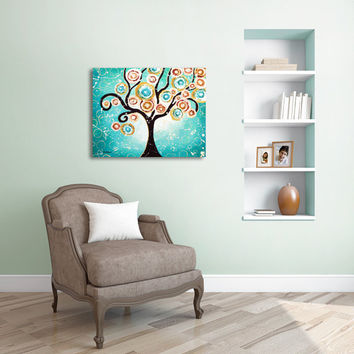 Whimsical Folk Art Painting, Tree of Life Wall Art, Original Acrylic Landscape Painting, Home Decor 16x20x1.5