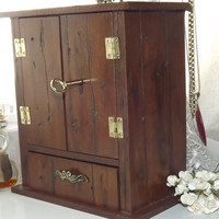 LOCKABLE Rustic Armoire - HANDMADE Shabby Chic, VintAged Armoire with base Drawer. PERSONALISE with a Brass plaque. Lock Box. Lock and key