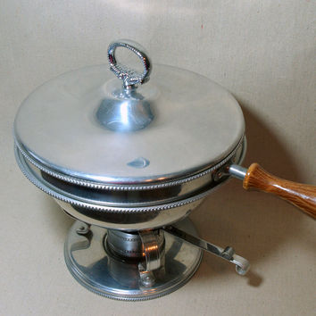 VINTAGE FRENCH PROVINCIAL Ornate Silver Chafing Dish Set Antique Serving pieces with Wood Handle & Stand .. Warming Dish