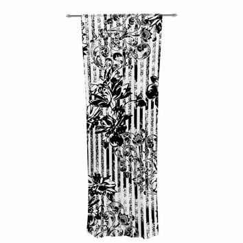 "Victoria Krupp ""Stripes And Flowers"" Black White Digital Decorative Sheer Curtain"