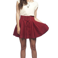 Lace Up Pleated Skater Skirt - Burgundy