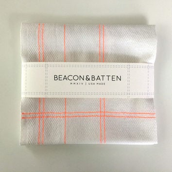 Machine Embroidered Tea Towel : White Ground - Neon Orange Thread