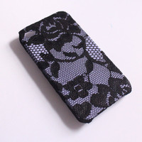 iPhone Case 4/4S - Black Lace over Lilac iPhone Case