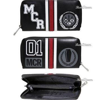 Licensed cool My Chemical Romance Band Varsity Patches 01 Logo Zipper Wallet Licensed NWT