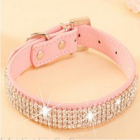 Pet Collar  Hot Bling Rhinestone PU Leather Crystal Diamond Puppy Pet Dog Collars Size S M L Pink Red Supplies Products