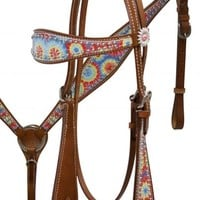 Showman ® Tie Dye Print Headstall and Breast Collar Set with Daisy Conchos