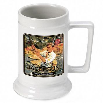 16oz. Ceramic Beer Stein - Fishing Guide