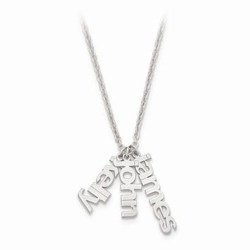Sterling Silver Polished Name Charms Necklace W/ Chain
