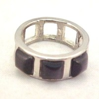 Vintage Gray Cats Eye Cab Silver Tone Ring Size 6.5 Square Cabochon