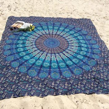Beach Cover Up Floral Print Stylish Indian Square Wall Hanging Mandala Bedspread Summer Throw