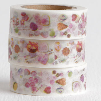 Garden or Tea Party Treats Washi Tape, Macaroons, Scones, Cookies, Crullers, Crumpets Food Washi, 15mm