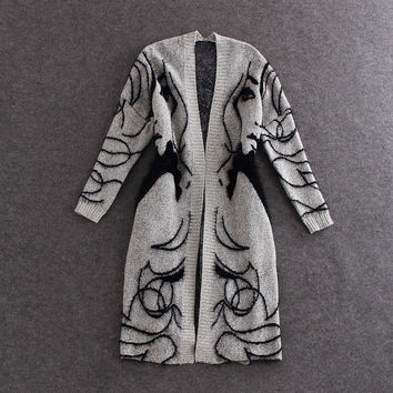2016 New Fashion Winter Fake Rabbit Hair Blend Knitted Cardigans Wool Poncho Women Print Oversized Jumper Sweater Cardigan Coat