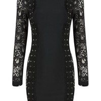 Honey Couture CASSY Black Lace Sides Long Sleeve Mini Bandage Dress