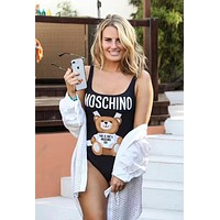 '' Moschino '' Cute Bear Prints Halter One Piece Swimsuit Bikini