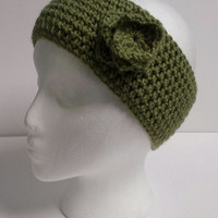 Handmade Green Crochet Flower Head wrap/Ear warmer/ Headband Women/Teen Head Turban Spring/ Fall/ Winter Accessory