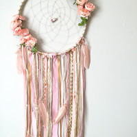 Dream catcher, Boho chic dreamcatchers, Bohemian Dreamcatcher, Peachy Pink Flowers, Nursery Boho Decor, Feminine Dreamcatcher, 5 Sizes