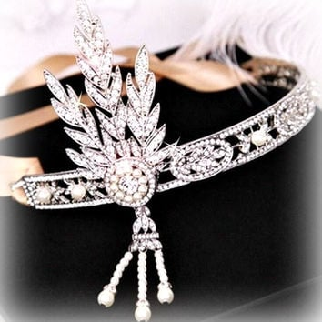 RHINESTONE WEDDING headpiece, tiara, crown, great gatsby, headband, crystal, pearl, bride, bridal, victorian, vintage 20's, flapper, costume