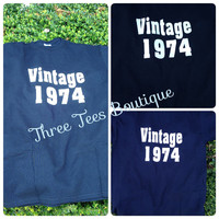 Custom Vintage 1974 Short Sleeve T-Shirt Custom T Shirt  Birthday T-Shirt Milestone Birthday T-Shirt Monogrammed Gifts Personalized TShirt