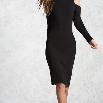 Open-Shoulder Mock Neck Dress