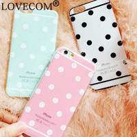 """LOVECOM New Hot Sale Candy Color Dot Style Soft TPU Phone Back Cover Phone Case For Iphone 6Plus 6S Plus 5.5"""" YC1038"""