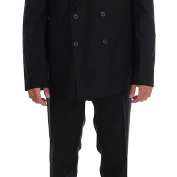 Black Wool Double Breasted Slim Fit Suit