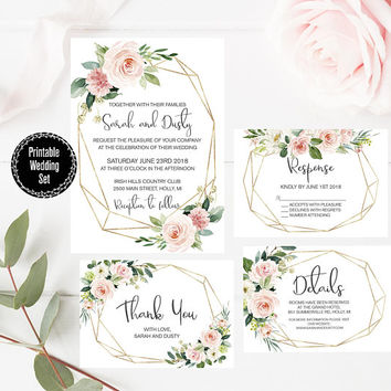 Floral Wedding Invitation Set, Blush Pink Floral Geometric Invitation, Free Inserts, Thank You Card, Pink Floral Wedding Invitation