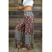 Colorful Vibrations Orange Tribal Palazzo Pants