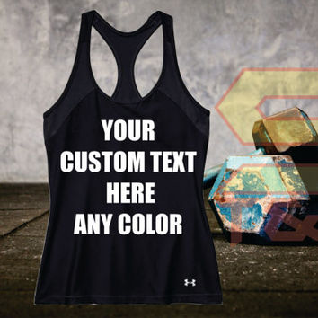 Custom Under Amour  Womens Heat Gear Armour Tank Top  FittedPersonalized in any Texts-Colors  Great Quality Tank Limited Quantity  Workout