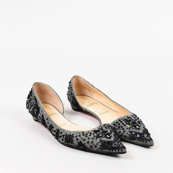 AUGUAU Christian Louboutin Grey and Black Canvas Beaded Pointed Toe D  Orsay Flats