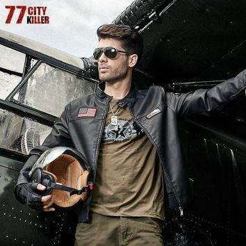 77City Killer Mile High Club Faux Leather Bomber Jacket
