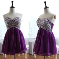 short sexy purple sequin junior chiffon cheap cocktail dress | Cheap mini length Sale