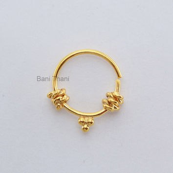 Handmade Gold Plated 925 Sterling Silver Nose Ring - Ethnic Septum Ring - Septum Jewelry - Nose Ring - Gypsy - #6683